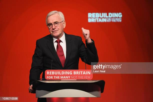 Shadow Chancellor of the Exchequer John McDonnell speaks during day two of the annual Labour Party conference at the Exhibition Centre Liverpool on...