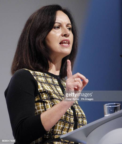 Shadow communities secretary Caroline Flint addressing the Labour Party Conference at the Echo Area in Liverpool