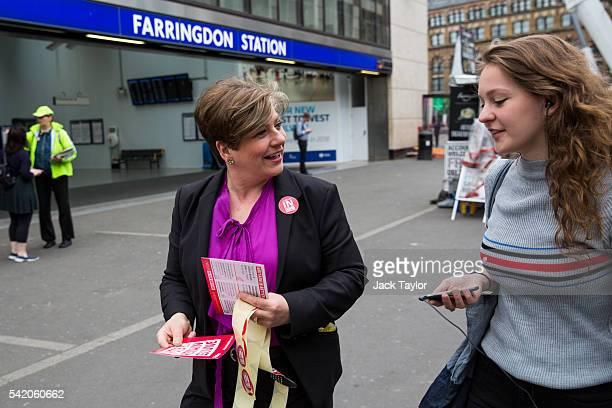 Shadow Defence Secretary Emily Thornberry hands out leaflets and stickers on behalf of 'Labour Remain' by Farringdon Station on June 22 2016 in...