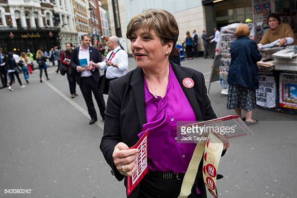 Shadow Defence Secretary Emily Thornberry hands out leaflets on behalf of 'Labour Remain' by Farringdon Station on June 22 2016 in London United...
