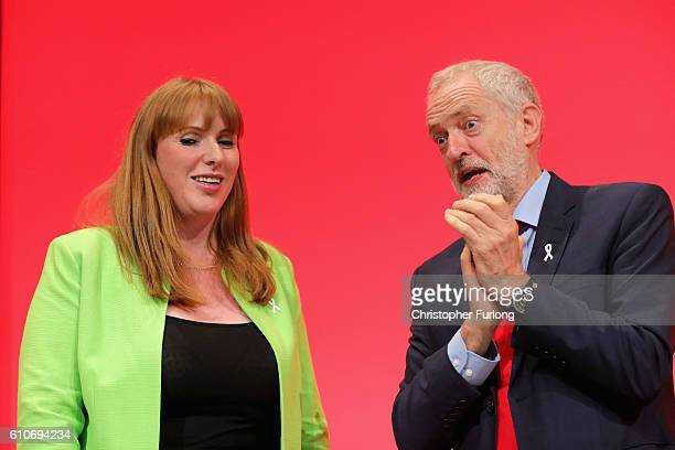 Shadow Education Secretary Angela Rayner is congratulated by Labour Party leader Jeremy Corbyn after her keynote speech on September 27 2016 in...