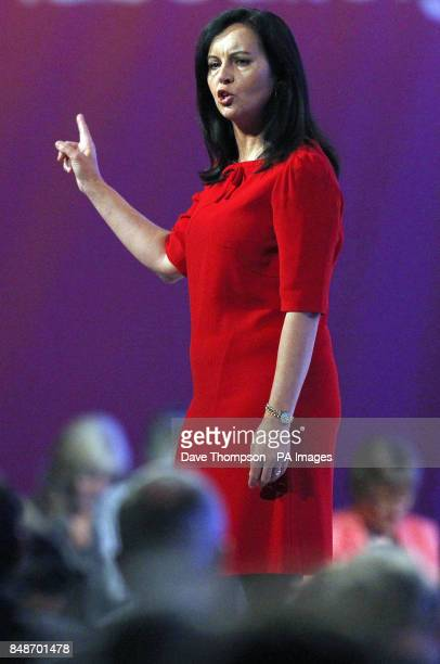 Shadow energy secretary Caroline Flint during her speech on stage at Manchester Central during the second day of the Labour Party Conference in...