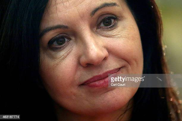 Shadow Environment and Climate Change Minister Caroline Flint attends the unveiling of a pink van launched during a Labour campaign aimed at women...