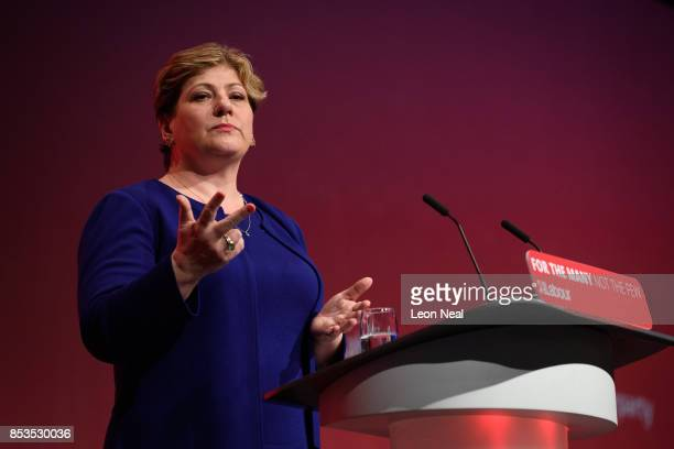 Shadow First Secretary of State Emily Thornberry addresses delegates in the main hall on the second day of the Labour Party conference on September...
