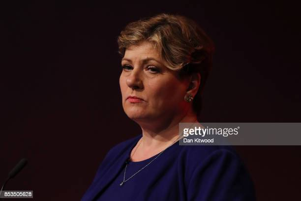 Shadow First Secretary of State Emily Thornberry delivers her key note speach in the main hall during day two of the Labour Party Conference on...