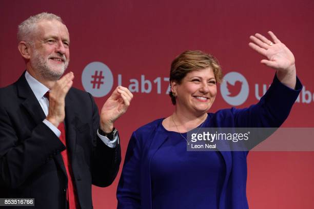Shadow First Secretary of State Emily Thornberry stands with party leader Jeremy Corbyn after addressing delegates in the main hall on the second day...