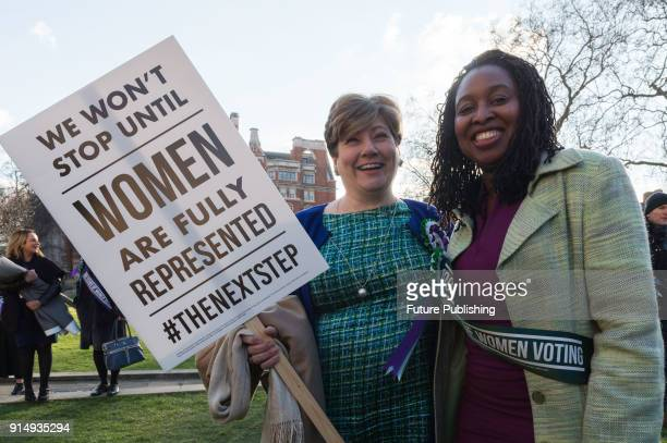 Shadow Foreign Secretary Emily Thornberry and Shadow Minister for Women and Equalities Dawn Butler pose for a picture outside Parliament as the...