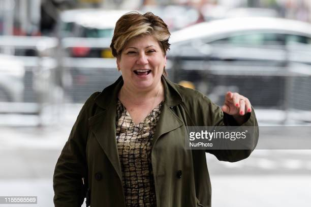 Shadow Foreign Secretary Emily Thornberry arrives at the BBC Broadcasting House in central London to appear on The Andrew Marr Show on 14 July 2019...