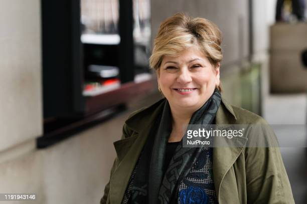 Shadow Foreign Secretary Emily Thornberry arrives at the BBC Broadcasting House in central London on 05 January 2020 in London England Emily...