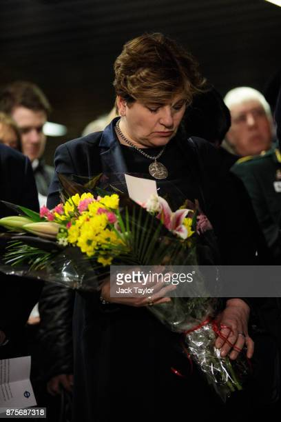 Shadow Foreign Secretary Emily Thornberry attends a memorial to mark the 30th anniversary of the King's Cross fire at King's Cross Station on...
