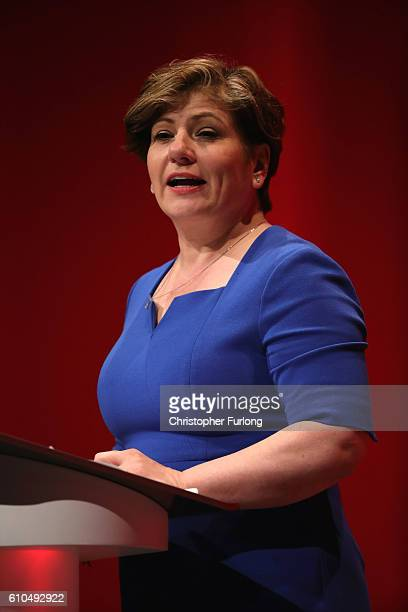 Shadow Foreign Secretary Emily Thornberry delivers keynote speech during the second day of the Labour party conference on September 26 2016 in...