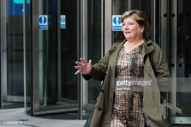 Shadow Foreign Secretary Emily Thornberry leaves the BBC Broadcasting House in central London after appearing on The Andrew Marr Show on 14 July 2019...