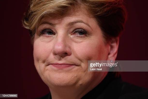 Shadow Foreign Secretary Emily Thornberry listens to speakers onstage in the Exhibition Centre Liverpool during day three of the annual Labour Party...