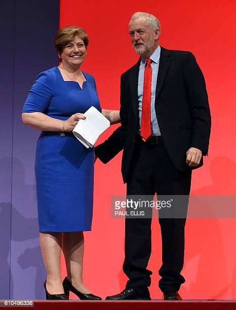 Shadow Foreign Secretary Emily Thornberry smiles by opposition Labour party leader Jeremy Corbyn after delivering her speech on the second day of the...
