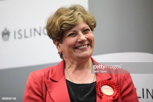 Shadow Foreign Secretary Emily Thornberry smiles on stage following her win at the Sobell Leisure Centre during the Islington South declaration on...