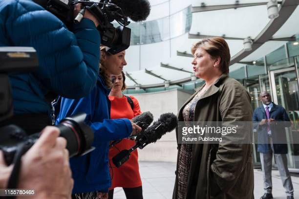 Shadow Foreign Secretary Emily Thornberry speaks to the media outside the BBC Broadcasting House in central London after appearing on The Andrew Marr...