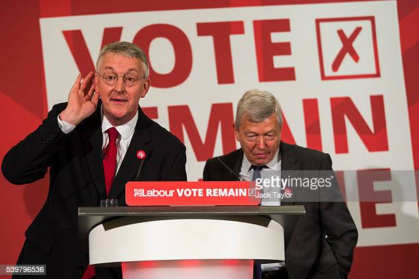 Shadow Foreign Secretary Hilary Benn and former Foreign Secretary Alan Johnson reacts to a question from the audience at Church House on June 13 2016...