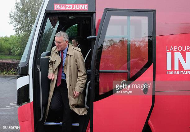 Shadow Foreign Secretary Hilary Benn MP arrives as he visits the Angel of the North with the Labour In for Britain battle bus on May 26 2016 in...