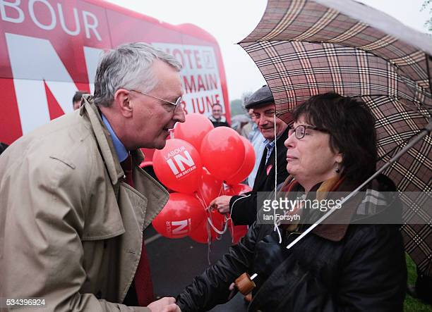 Shadow Foreign Secretary Hilary Benn MP meets supporters as he visits the Angel of the North with the Labour In for Britain battle bus on May 26 2016...