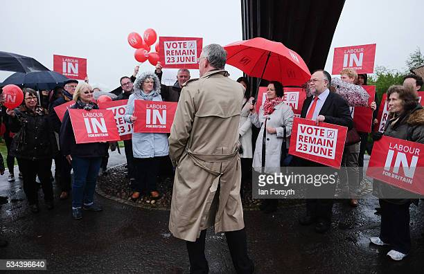 Shadow Foreign Secretary Hilary Benn MP speaks to supporters under the Angel of the North as he visits with the Labour In for Britain battle bus on...