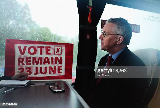 Shadow Foreign Secretary Hilary Benn MP speaks with the media during a visit to the Angel of the North with the Labour In for Britain battle bus on...