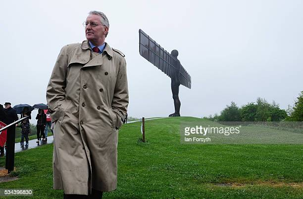Shadow Foreign Secretary Hilary Benn MP visits the Angel of the North as part of the Labour In for Britain battle bus tour on May 26 2016 in...