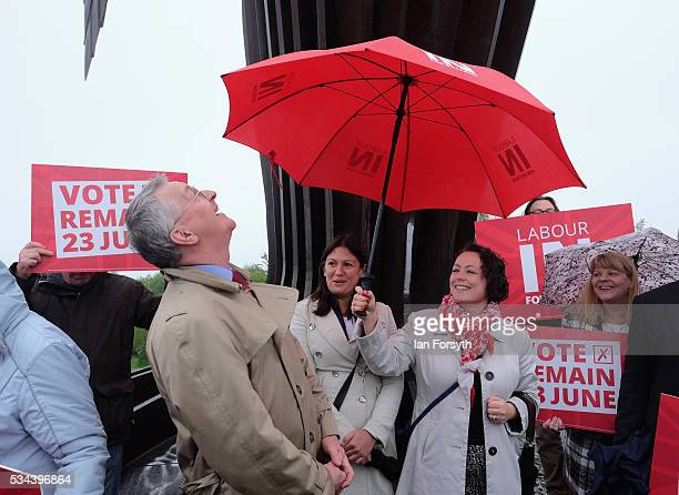 Shadow Foreign Secretary Hilary Benn MP visits the Angel of the North with the Labour In for Britain battle bus on May 26 2016 in Gateshead England...