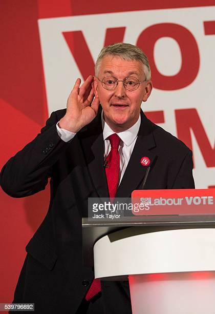 Shadow Foreign Secretary Hilary Benn reacts to a question from the audience at Church House on June 13 2016 in London England Mr Benn made a speech...