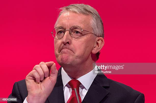 Shadow Foreign Secretary Hilary Benn speaks to delegates during a session entitled Britain and the World during the second day of the Labour Party...