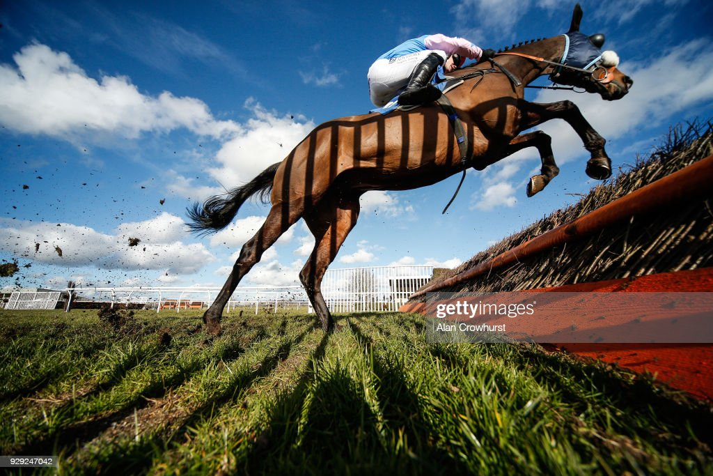 A shadow from the wing of the fence is cast on the body of the Drinkymeister as it clears the jump at Wincanton racecourse on March 8, 2018 in Wincanton, England.