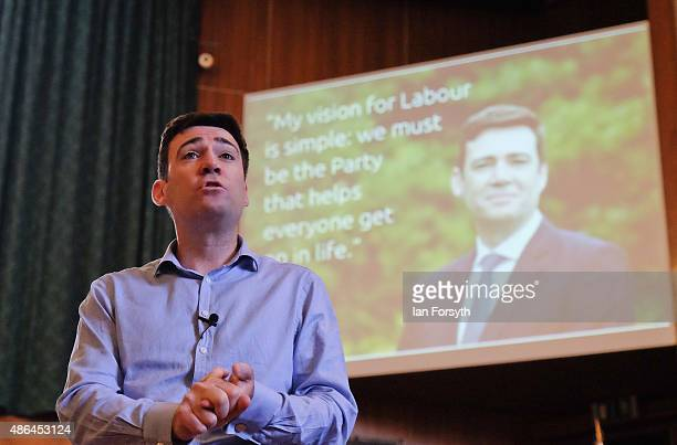 Shadow Health Secretary and Labour leadership hopeful Andy Burnham speaks to party members during a question and answer session at the County Hall...