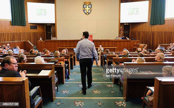 Shadow Health Secretary and Labour leadership hopeful Andy Burnham arrives to speak to party members during a question and answer session at the...