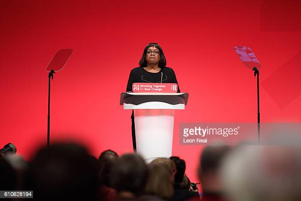 Shadow Health Secretary Diane Abbott addresses delegates at the Labour Party conference on September 27 2016 in Liverpool England On day three of the...