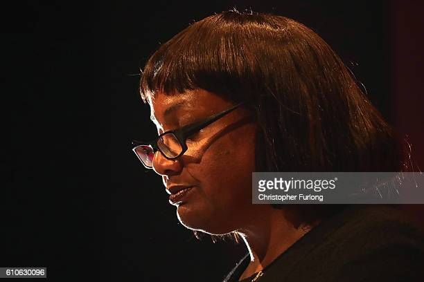 Shadow Health Secretary Diane Abbott addresses delegates at the Labour Party conference on day three at the ACC on September 27 2016 in Liverpool...