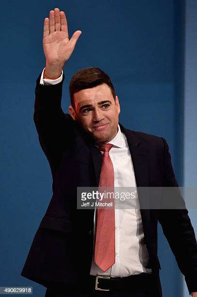 Shadow Home Secretary Andy Burnham accepts applause after his speech to delegates during the final day of the Labour Party Autumn Conference on...