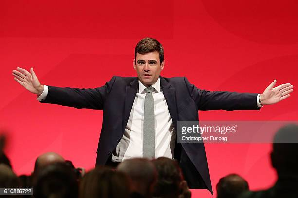 Shadow home secretary Andy Burnham MP delivers his keynote speech to delegates at the ACC on September 28 2016 in Liverpool England On the last day...
