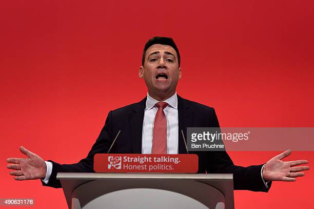 Shadow Home Secretary Andy Burnham speaks to delegates during a session titled 'Stronger Safer Communities' during the final day of the Labour Party...