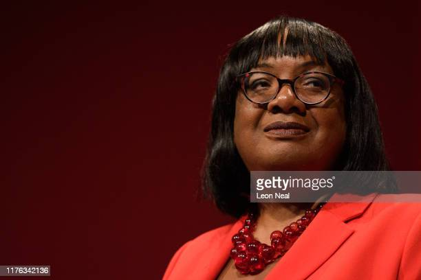 Shadow Home Secretary Diane Abbott addresses delegates in the main hall of the Brighton Centre on the second day of the Labour Party conference on...