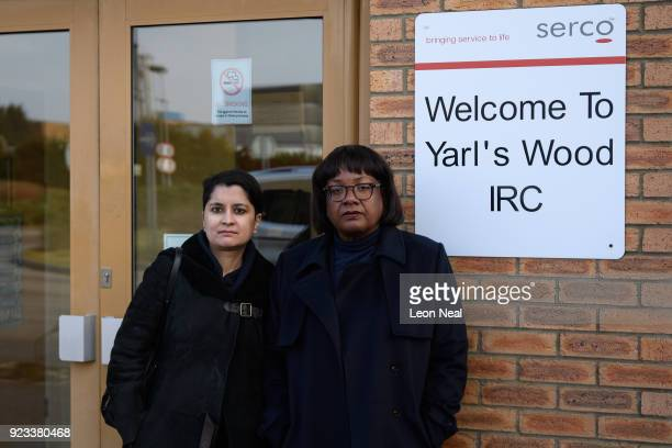 Shadow Home Secretary Diane Abbott and Shadow Attorney General Shami Chakrabarti arrive at the Yarl's Wood Immigration Detention Centre on February...