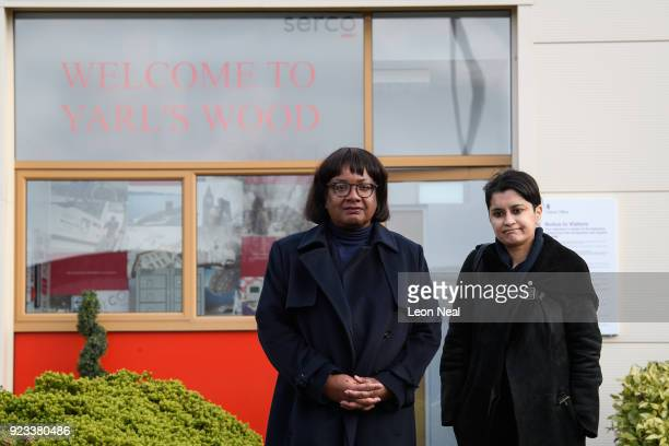 Shadow Home Secretary Diane Abbott and Shadow Attorney General Shami Chakrabarti leave the Yarl's Wood Immigration Detention Centre on February 23...