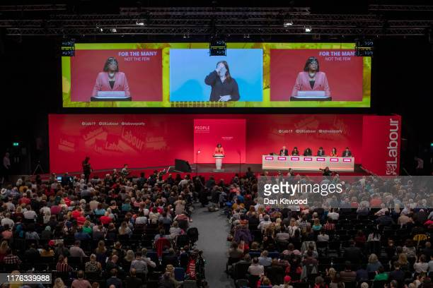 Shadow Home Secretary Diane Abbott delivers her keynote speech to conference delegates on September 22 2019 in Brighton England Labour return to...