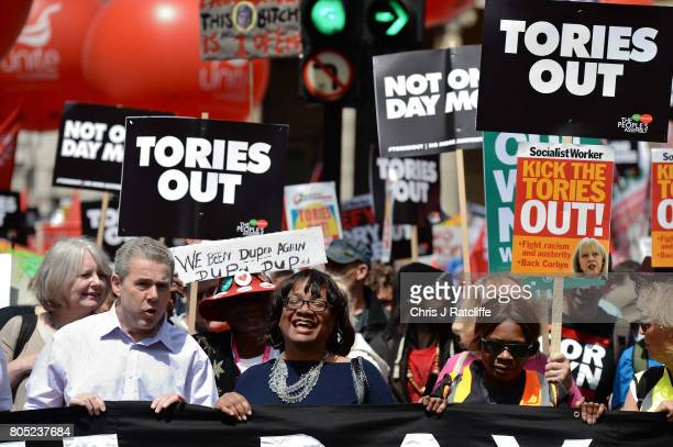 Shadow Home Secretary Diane Abbott leads the 'Not One Day More' march at BBC Broadcasting House on July 1 2017 in London England Thousands of...