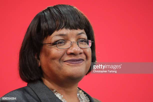 Shadow Home Secretary Diane Abbott speaks at the launch of Labour's local election campaign at Stretford Sports Village on March 22 2018 in Stretford...