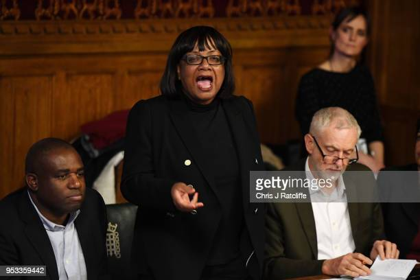 Shadow Home Secretary Diane Abbott speaks during a meeting with representatives of the Windrush generation as Labour MP David Lammy and Labour leader...
