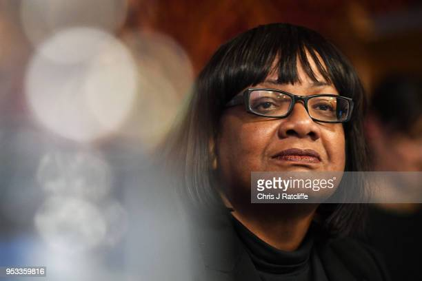 Shadow Home Secretary Diane Abbott speaks during a meeting with representatives of the Windrush generation at the House of Commons on May 1 2018 in...