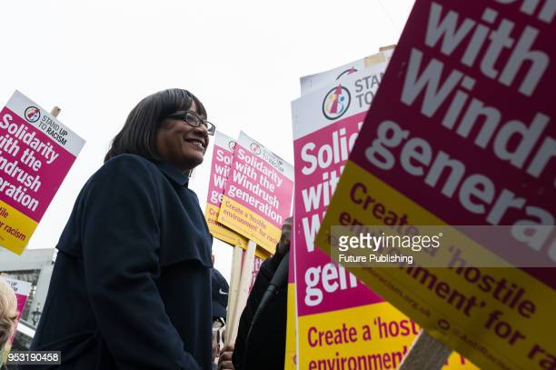 Shadow Home Secretary Diane Abbott takes part in a 'Justice for Windrush' protest outside Houses of Parliament, organised to call for restoring legal...