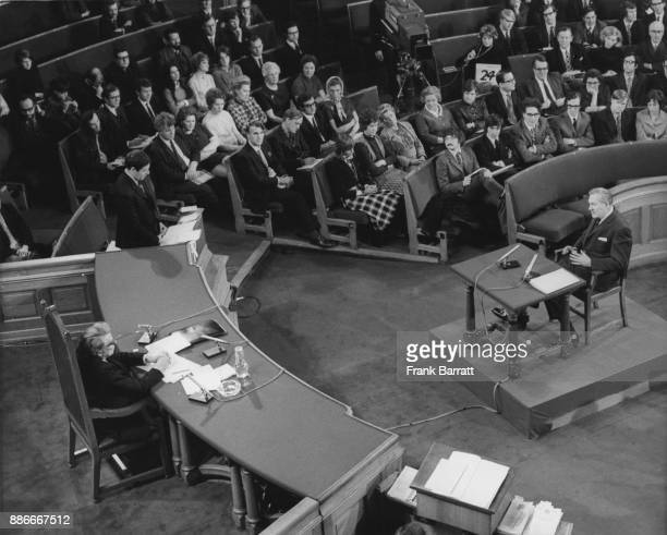 Shadow Home Secretary James Callaghan is crossexamined on the Industrial Relations Bill by Leon Brittan while Patrick Devlin presides during the...