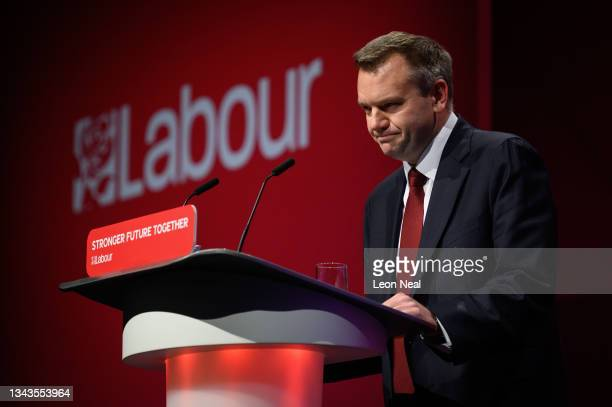Shadow Home Secretary Nick Thomas-Symonds addresses delegates in the main hall on day four of the Labour Party conference on September 28, 2021 in...