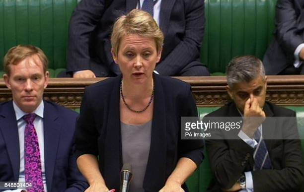 Shadow home secretary Yvette Cooper responds in the House of Commons London after Home Secretary Theresa May announced that computer hacker Gary...