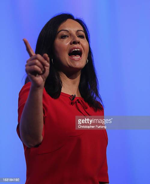 Shadow housing minister Caroline Flint addresses delegates the Labour Party Conference at Manchester Central on October 1 2012 in Manchester England...